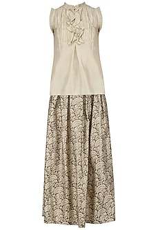 Ivory Frill Top and Printed Skirt Set by Pinnacle By Shruti Sancheti