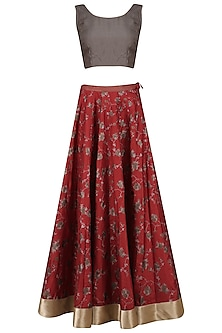 Red Cracker Print Lehenga Skirt with Grey Blouse by Pinnacle By Shruti Sancheti