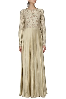 Ivory Floral Embroidered Pleated Maxi Dress by Pinnacle By Shruti Sancheti