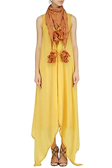Yellow Asymmetrical Tunic with Orange Tassel Hanging Scarf by Pinnacle By Shruti Sancheti