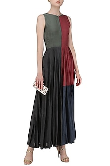 Multi Color Pleated Maxi Dress by Pinnacle By Shruti Sancheti