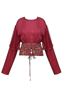 Red Embroidered Crushed Sleeves Top by Pinnacle By Shruti Sancheti