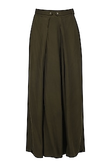 Brown Pleated Palazzo Pants by Pinnacle By Shruti Sancheti
