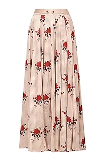 Blush Pink Floral Embroidered Maxi Skirt by Pinnacle By Shruti Sancheti