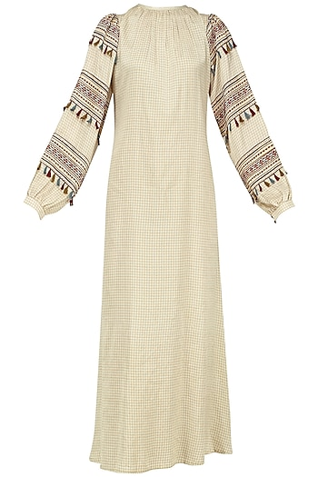 Beige Block Printed Checked Maxi Dress by Pinnacle By Shruti Sancheti