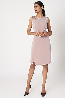 Blush Pink Beige Embroidered Woven Dress by Platinoir