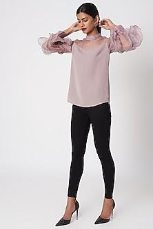 Rosewood Pink Top With Embroidered Sleeves by Platinoir