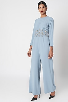 Steel Blue Embroidered Vintage Jumpsuit by Platinoir
