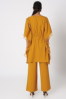 Mustard Yellow Embroidered Co-ordinate Set by Platinoir