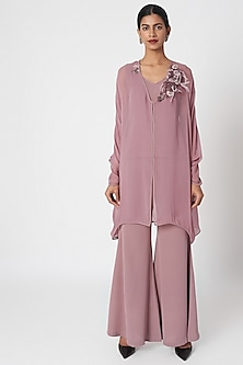 Rosewood Pink Kaftan Top With Inner & Pants by Platinoir