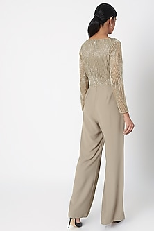 Beige Sequins Embroidered Jumpsuit by Platinoir