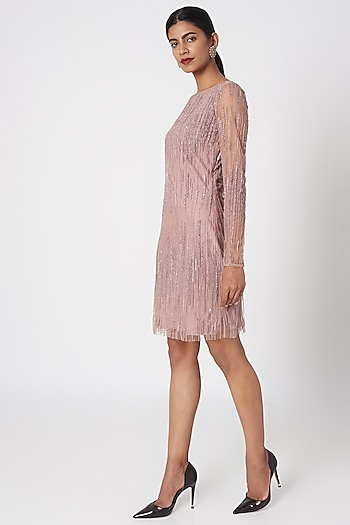 Rosewood Pink Embroidered Mini Dress by Platinoir