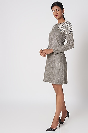 Silver Embellished Mini Dress by Platinoir