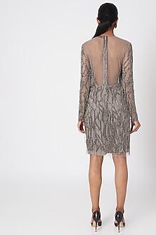 Gunmetal Silver Embellished Dress by Platinoir