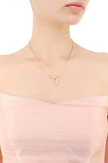 """Gold plated customised alphabet """"n"""" pendant necklace by Prerto"""