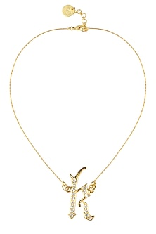 """Gold plated customised alphabet """"k"""" pendant necklace by Prerto"""