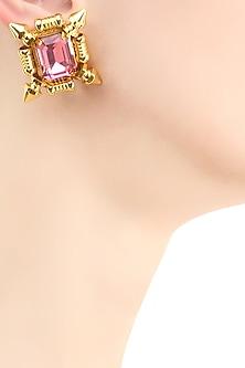 Gold plated pink swarovski crystal stud earrings by Prerto