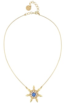 Gold plated blue sun pendant necklace by Prerto