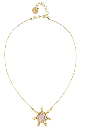 Gold plated light pink pendant necklace by Prerto