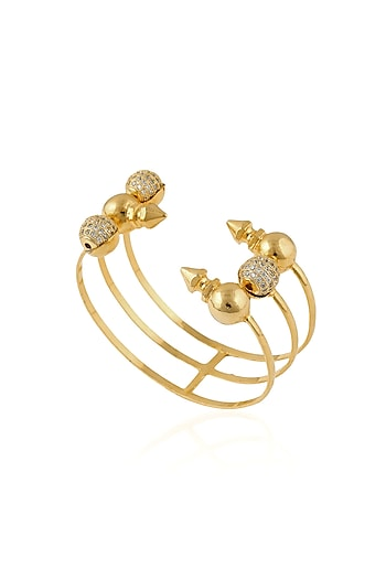 Gold Plated Swarovski Element 3 Tier Zosia Bracelet by Prerto