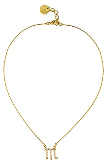 """Gold Plated Customised Alphabet """"M"""" Pendant Necklace by Prerto"""