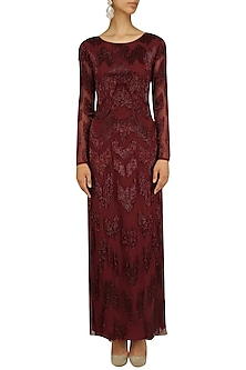 Berry Bugle Beads Embroidered Fringed Gown by Platinoir