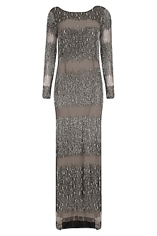 Beige Metallic Sheen and Crystal Embroidered Gown by Platinoir