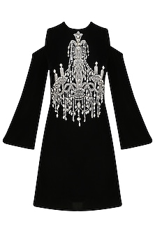 Nude Chandelier Motif Cold Shoulder Dress by Platinoir