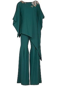 Emerald Green Embroidered Kimono Top With Gharara by Platinoir