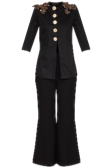 Black Embroidered Jacket With Flared Pants by Platinoir