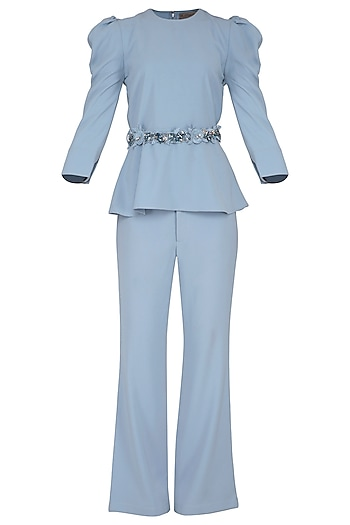 Powder Blue Peplum Top With Pants & Embroidered Belt by Platinoir