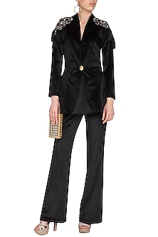 Black Embroidered Velvet Peplum Blazer With Pants by Platinoir