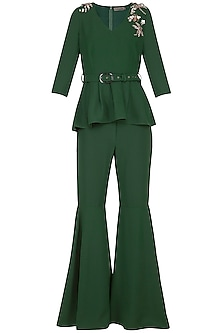 Olive Green Embroidered Peplum Top With Flared Pants by Platinoir