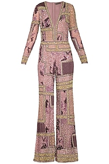Rosewood Colored Embroidered Shell Tulle Jumpsuit by Platinoir