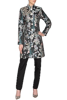 Black Embroidered Printed Jacquard Jacket With Pants by Platinoir