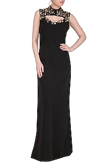 Black Embellished Cutout Gown by Platinoir