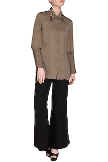 Brown Embroidered Extended Cuffs Shirt by Platinoir