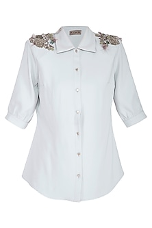 Grey Embellished Shirt by Platinoir