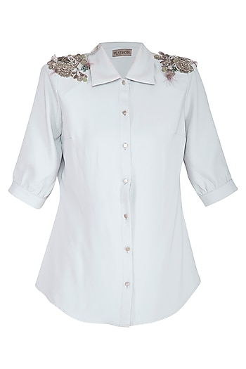Grey Embellished Shirt by Platinoir