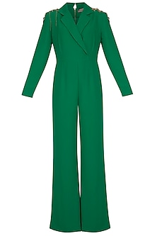 Green Embellished Jumpsuit by Platinoir
