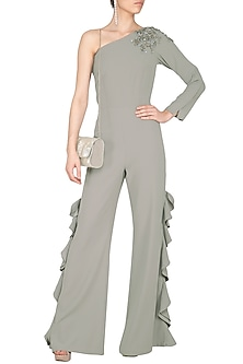 Grey Embroidered One Shouldered Jumpsuit by Platinoir