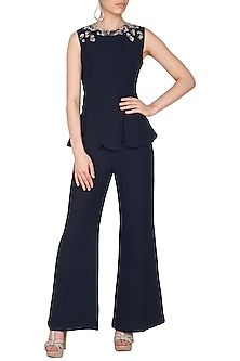 Black Embroidered Peplum Jumpsuit by Platinoir