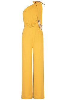 Mustard Embroidered One Shouldered Jumpsuit by Platinoir