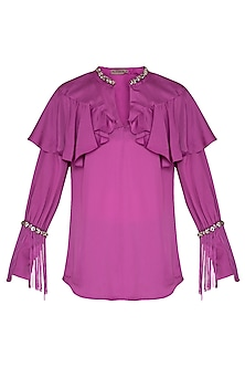 Fuchsia Embroidered Fringe Top by Platinoir