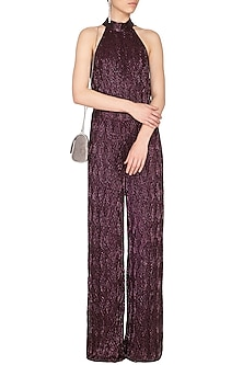 Wine Embroidered Halter Neck Jumpsuit by Platinoir