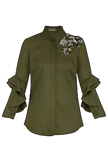 Olive Green Embroidered Shirt by Platinoir