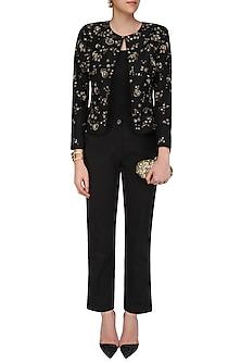 Black Golden Sequins Jacket Pant Set by Platinoir