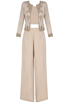 Light Beige Jacket with Crop Top and Palazzo Pants by Platinoir
