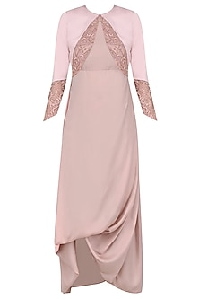 Blush Drape Gown with Short Jacket by Platinoir