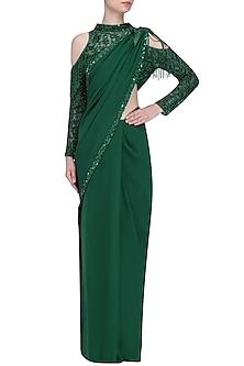 Emerald Green Poised Saree with Cold Shoulder Fringe Blouse by Platinoir
